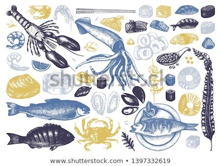 Oester garnalen schelpdier voedsel restaurant diner Stockfoto © M-studio