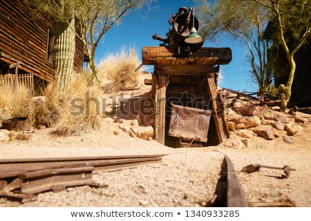 old abandoned mine shaft western desert ghost town stock photo © cboswell
