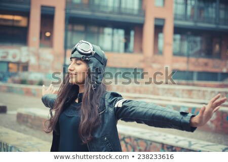 aviator brunette woman with cap and glasses i Stock photo © papa1266