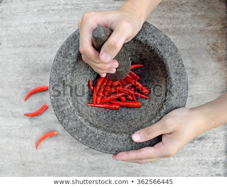 Woman crushing spices Stock photo © HASLOO