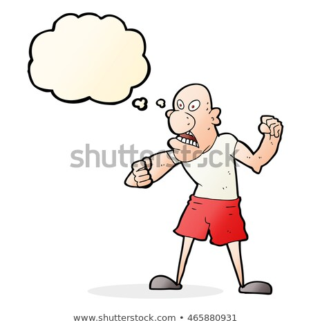 cartoon violent man with thought bubble Stock photo © lineartestpilot