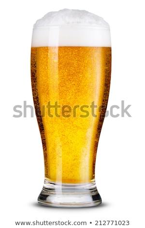 Világos sör üveg izolált fehér vágási körvonal ital Stock fotó © borysshevchuk