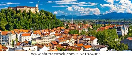 Panoráma Szlovénia Európa városkép naplemente hegy Stock fotó © kasto