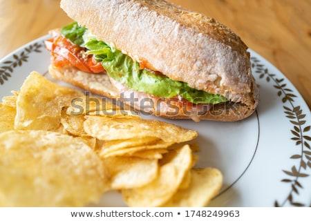 domuz · pastırması · marul · domates · sandviç · patates · kızartması · kola - stok fotoğraf © klinker