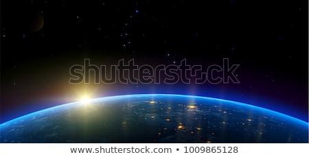 Planet earth with sunrise. Vector Stock photo © -Baks-