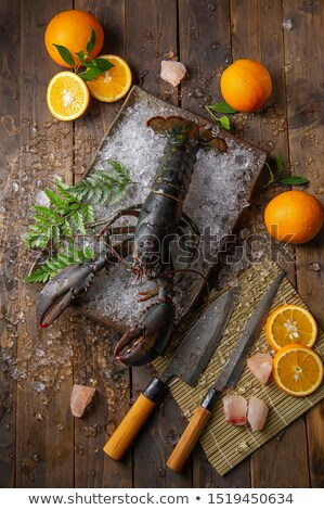 Cooked lobster claw with sea salt on wood Stock photo © Sandralise