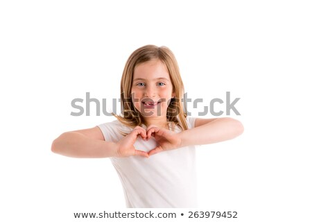 Blond indented kid girl hearth shape fingers smiling Stock photo © lunamarina