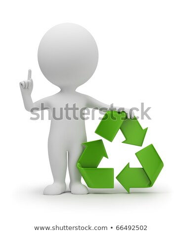 3d small people with a recycling symbol stock photo © anatolym