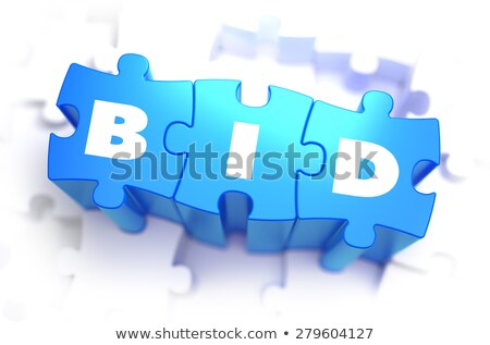 Bid - White Word on Blue Puzzles. Stock photo © tashatuvango