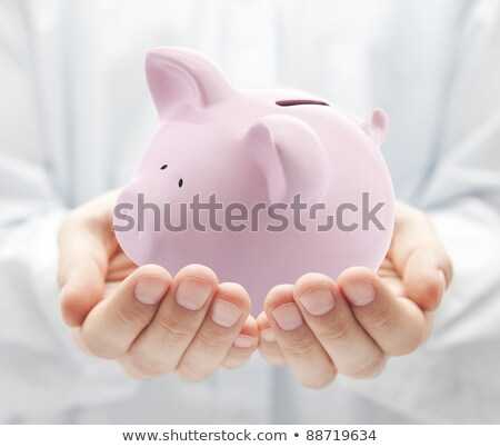Mans hands sheltering  piggy bank Stock photo © wavebreak_media