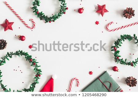 cukorka · karácsony · keret · cukorkák · fehér · háttér - stock fotó © OliaNikolina