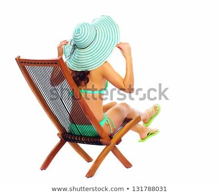 Güzel genç kadın bikini oturma şezlong rahatlatıcı Stok fotoğraf © nenetus