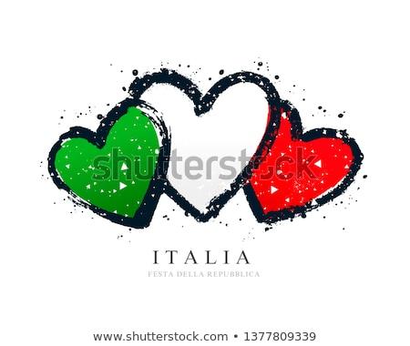olasz · szív · illusztráció · szív · alak · színek · olasz · zászló - stock fotó © madelaide