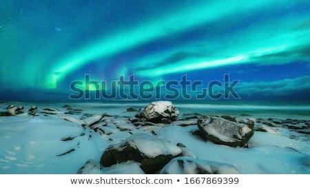 Gyönyörű északi fény kék zöld absztrakt Stock fotó © Anna_Om