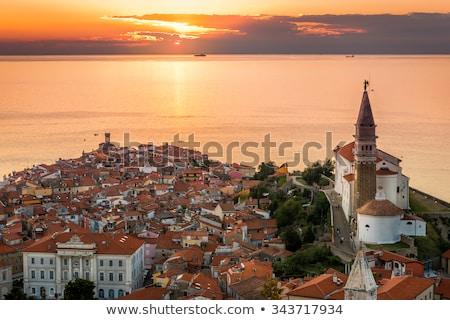 закат · морем · старый · город · Словения · живописный - Сток-фото © kayco