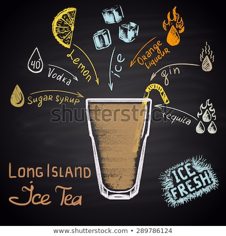cocktail long island iced tea on black board stock photo © netkov1