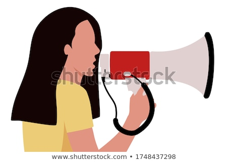 Hand holding a megaphone. Vector illustration stock photo © jabkitticha