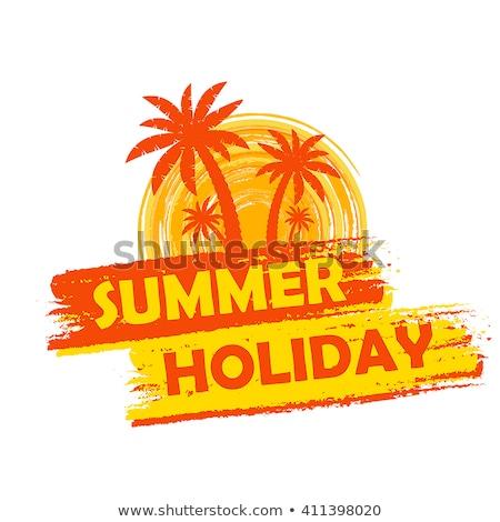 Summer Holiday With Palms And Sun Sign Yellow And Orange Drawn Stockfoto © marinini