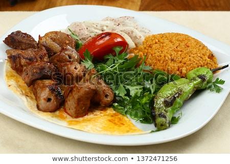 barbecue · disznóhús · rizs · zöldségek · közelkép · szeletel - stock fotó © digifoodstock