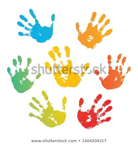 Hand Print blue Stock photo © PokerMan