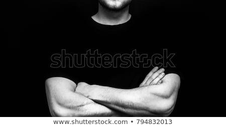 Jóképű testépítő keresztbe tett kar fehér szexi egészség Stock fotó © wavebreak_media