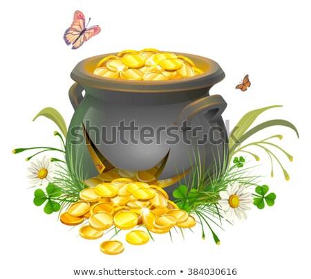 Foto stock: Pote · ouro · rachado · tesouro · caldeirão · grama