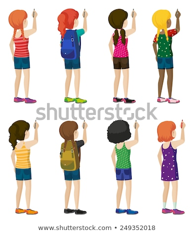 Eight faceless kids writing Stock photo © bluering