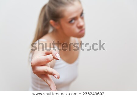 woman hand gesture for beware of what you do Stock photo © Giulio_Fornasar