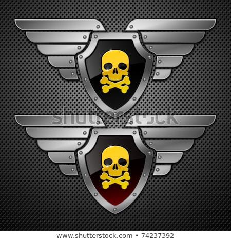 Cráneo metálico escudo arte signo muerte Foto stock © HunterX