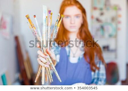vrouw · penseel · mond · ontwerp · verf · kunst - stockfoto © dash