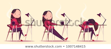 a tired girl at the chair stock photo © bluering