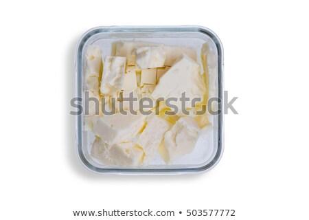 Dish of small portions of full cream feta cheese Stock photo © ozgur