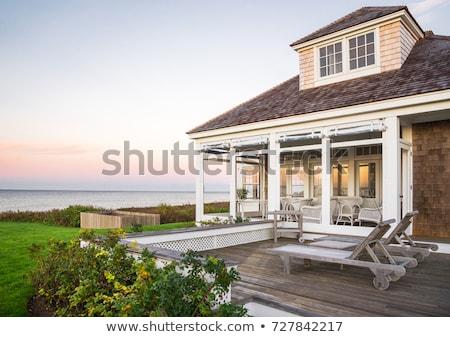 Casa de playa grande casa playa edificio puesta de sol Foto stock © bluering