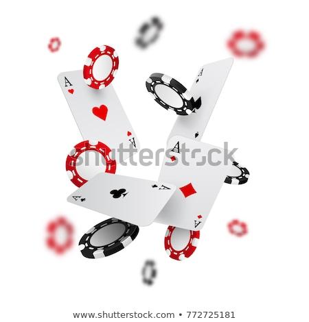 Kaszinó számítógépes játékok sültkrumpli kártyapakli pénz fekete Stock fotó © SArts