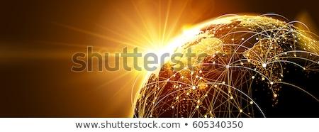 global network with sunrise stock photo © -baks-