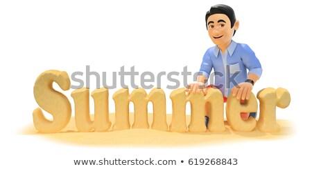 3D fiatalember rövidnadrág készít szó nyár Stock fotó © texelart