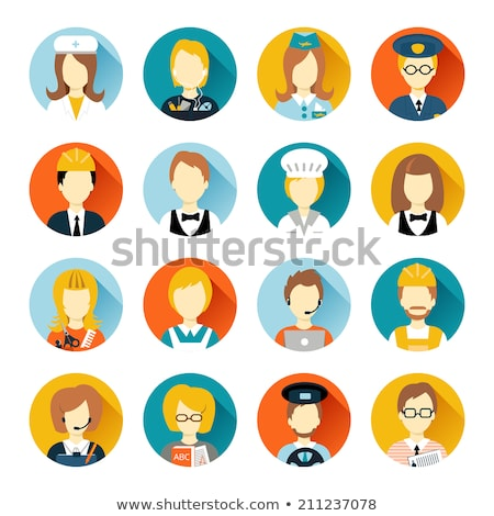 Waiter or Cook Character Flat Style Vector Icon Stock photo © robuart