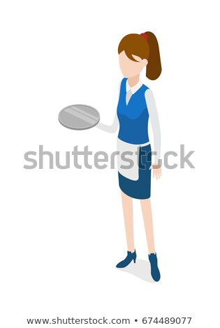 Restaurant. Waitress Holding Round Metal Grey Tray Stock photo © robuart