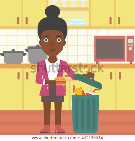 woman throwing junk food vector illustration stock photo © rastudio