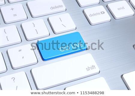 жить · чате · ключевые · современных · клавиатура · синий - Сток-фото © tashatuvango