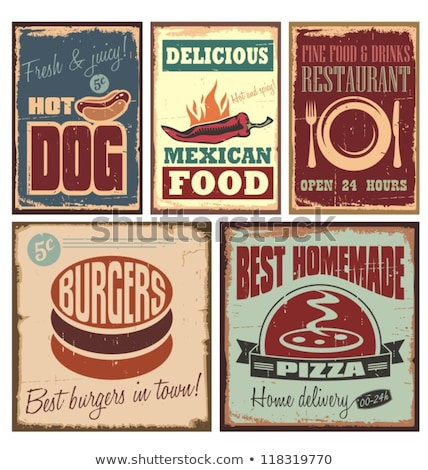 pizza burger hot dog illustrations in retro style isolated on stock photo © masay256