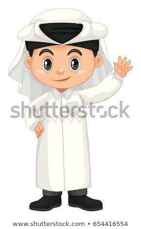 Boy in Qatar costume waving hand Stock photo © bluering