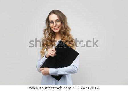 fille · verres · travaux · différent · cheveux · fond - photo stock © nikodzhi