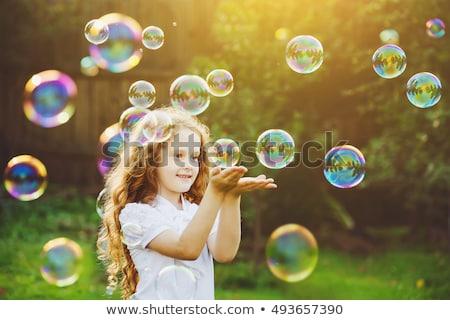 kız · sabun · köpüğü · küçük · kız · gökkuşağı · yaz · park - stok fotoğraf © fotoyou