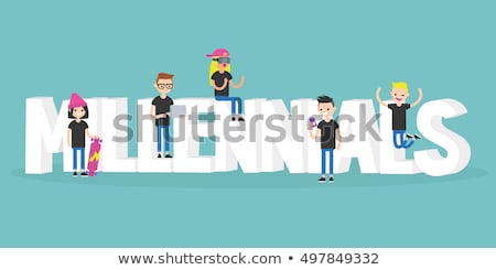 Millennial illustrated sign: young modern characters sitting and Stock photo © nadia_snopek