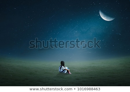 little girl sitting on green grass on the lawn Stock photo © Galyna_Tymonko