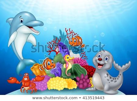Dolfijn springen uit water schets Stockfoto © Krisdog