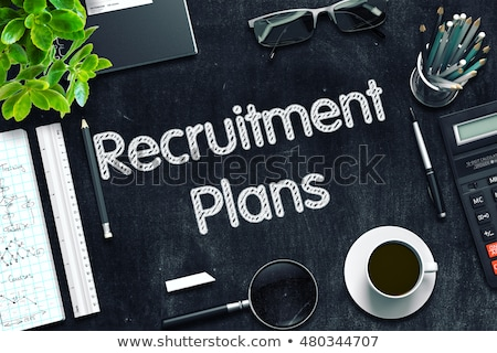 recruitment plans on black chalkboard 3d rendering stock photo © tashatuvango