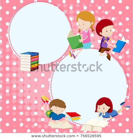 Keret sablon gyerekek olvas illusztráció gyermek Stock fotó © bluering