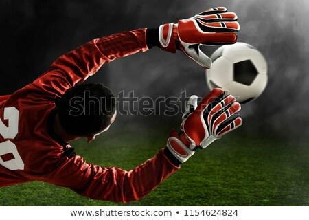 soccer ball and goalkeeper gloves on field Stock photo © dolgachov